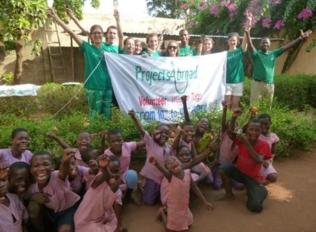 A group of volunteers helping out in Togo