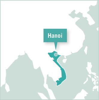 Hanoi is shown on a map of Vietnam